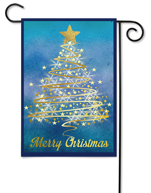 "Gold Christmas Tree Garden Flag - 12.5"" x 18"" - 2 Sided Message"
