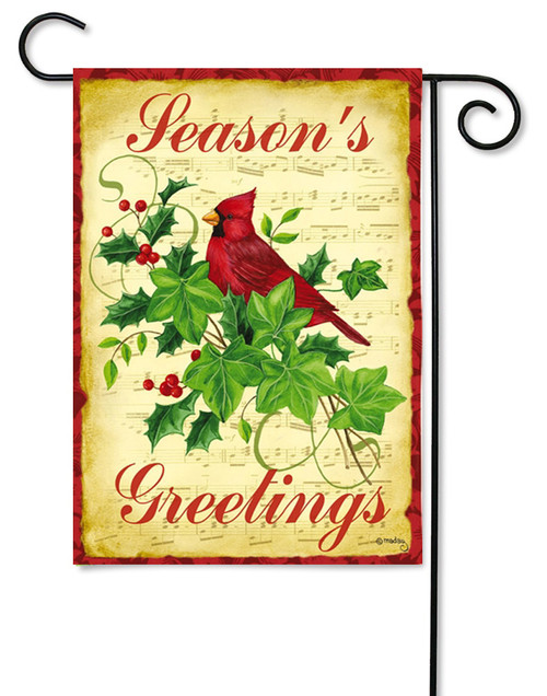 "Yuletide Joy Cardinal Garden Flag - 12.5"" x 18"" - 2 Sided Message"