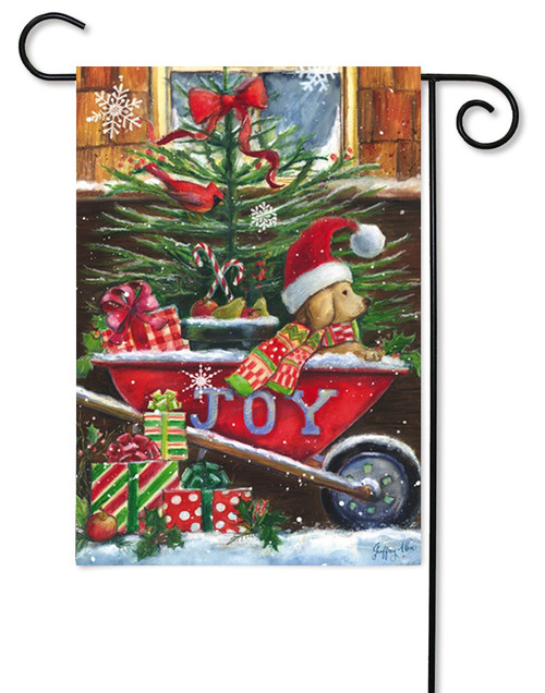 "Christmas Wheelbarrow Pup Garden Flag - 12.5"" x 18"" - 2 Sided Message"