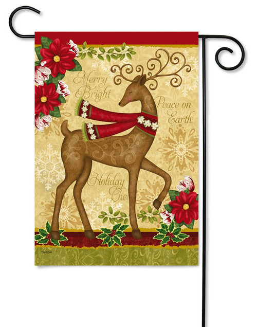 "Peace on Earth Deer and Dove Garden Flag - 12.5"" x 18"" - 2 flags in 1"