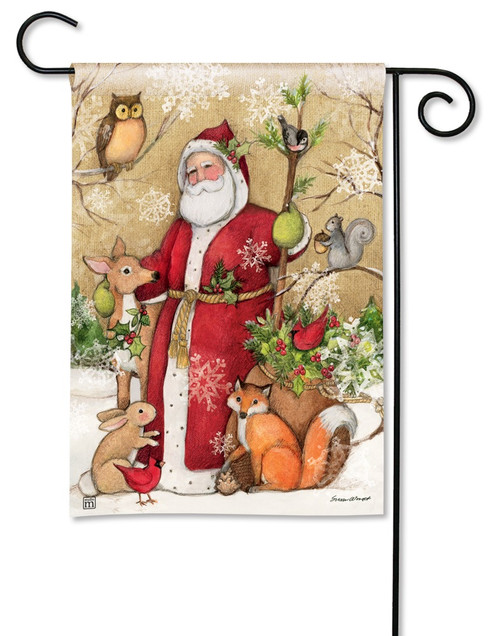 BreezeArt Woodland Santa Christmas Outdoor Garden Flag