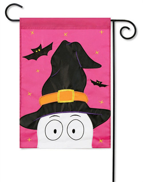 "Peeking Ghost Halloween Applique Garden Flag - 13 "" x 18"" - 2 Sided Message"