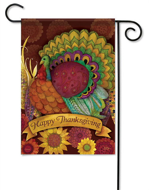 "Colorful Turkey Garden Flag - 13 "" x 18"" - 2 Sided Message - Glitter"