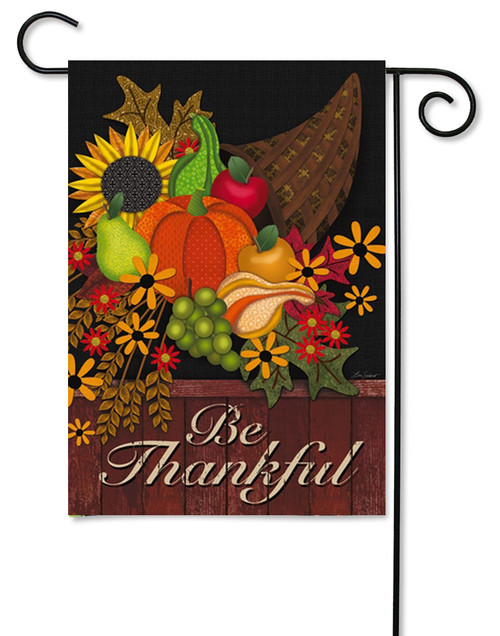 "Be Thankful Garden Flag - 12.5"" x 18"" - 2 Sided Message - Evergreen"