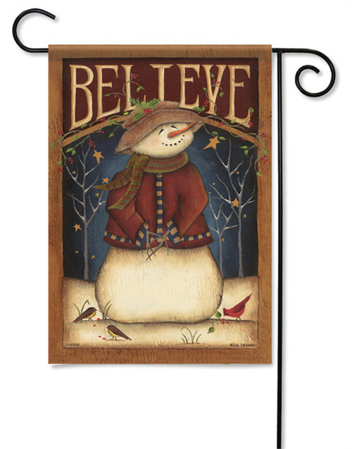 "Believe Snowman Garden Flag - 13 "" x 18"" - 2 Sided Message"
