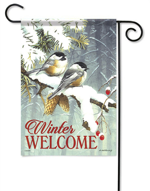 "Chickadee Pair Garden Flag - 13 "" x 18"" - 2 Sided Message"