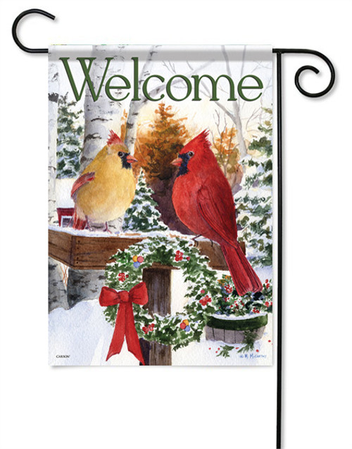 "Christmas Cardinals Garden Flag - 13 "" x 18"" - 2 Sided Message"