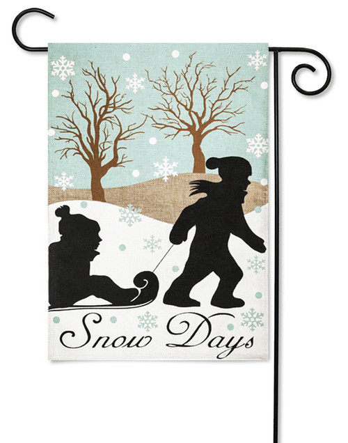 "Snow Day Applique Garden Flag - 12.5"" x 18"" - 2 Sided Message"
