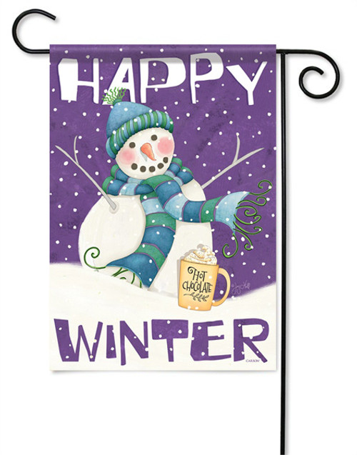 "Happy Winter Garden Flag - 13 "" x 18"" - 2 Sided Message"