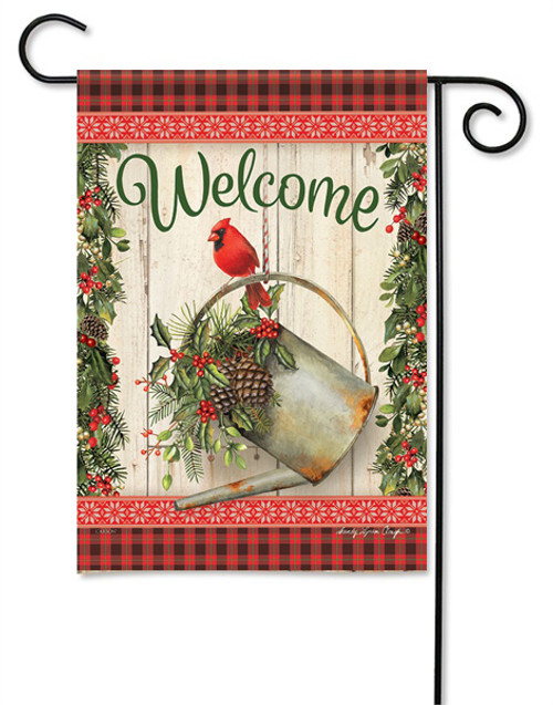 "Holiday Watering Can Garden Flag - 13 "" x 18"" - 2 Sided Message"