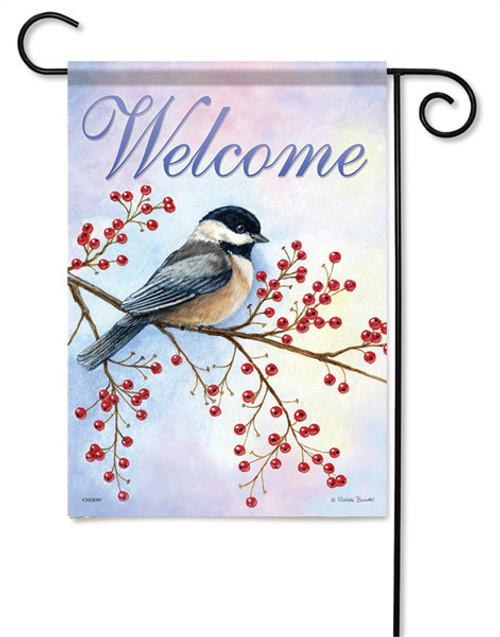 "Red Berries Chickadee Garden Flag - 13 "" x 18"" - 2 Sided Message"