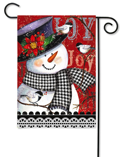 "Joyful Smiling Snowman Garden Flag - 12.5"" x 18"" - 2 Sided Message"