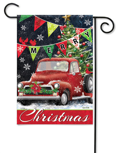 "Red Truck Christmas Garden Flag - 13 "" x 18"" - 2 Sided Message"