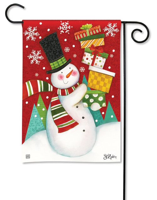 "Happy Snowman Garden Flag - 12.5"" x 18"" - BreezeArt"