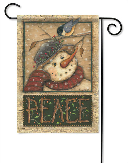 "Snowman and Chickadee Garden Flag - 13 "" x 18"" - 2 Sided Message"