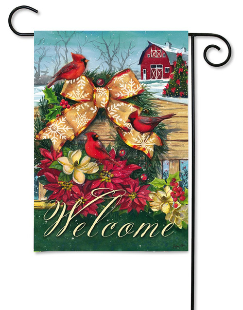 "Cardinals Wreath on Fence Garden Flag - 12.5"" x 18"" - 2 Sided Message"