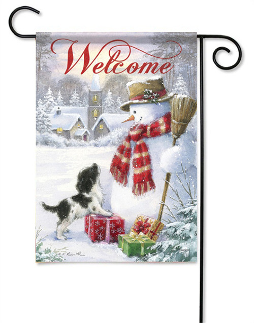 "Snowman & Puppy Garden Flag - 13 "" x 18"" - 2 Sided Message"