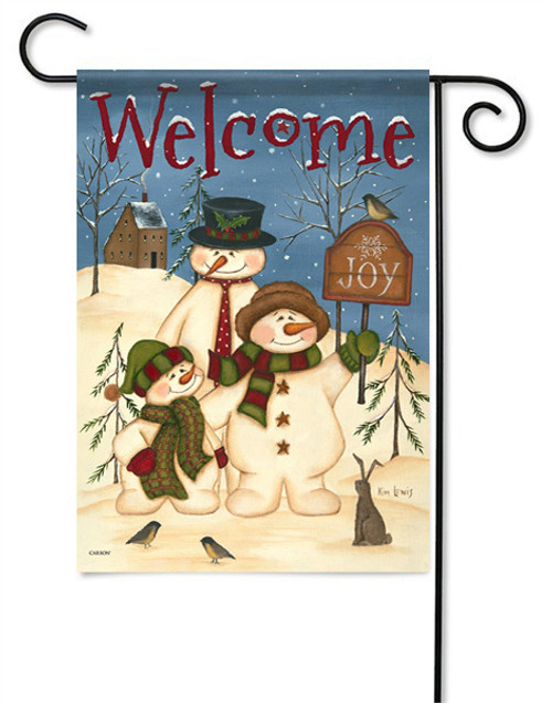"Snowman Family Garden Flag - 13 "" x 18"" - 2 Sided Message"