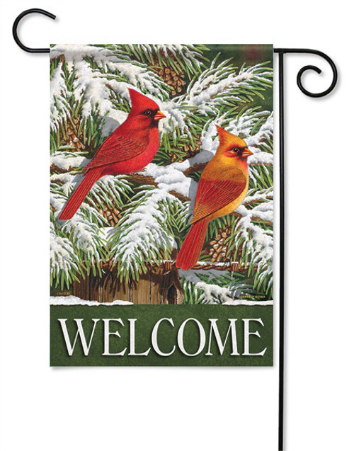 "Snowy Cardinals Garden Flag - 13 "" x 18"" - 2 Sided Message"