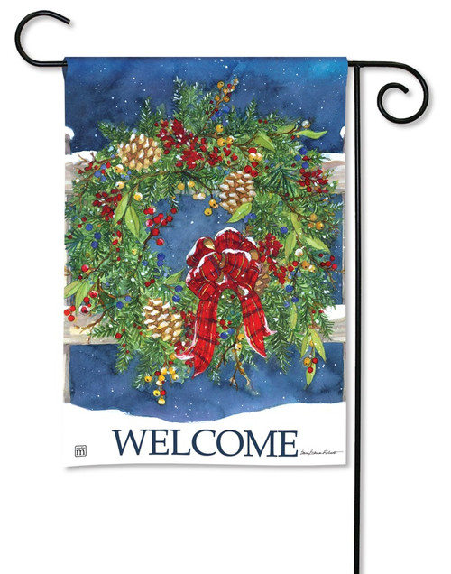 "Winter Wreath Garden Flag - 12.5"" x 18"" - BreezeArt"
