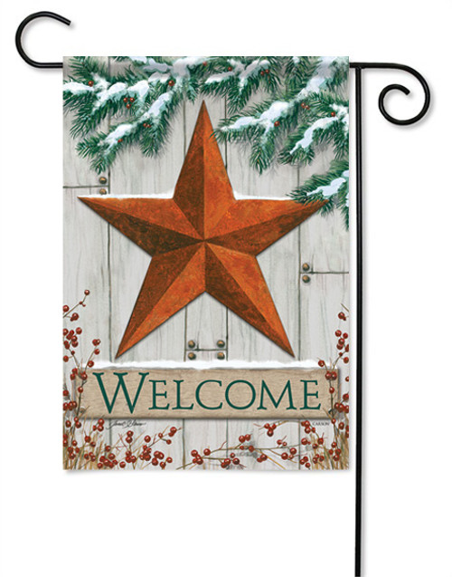 "Winter Barn Star Garden Flag - 13 "" x 18"" - 2 Sided Message"