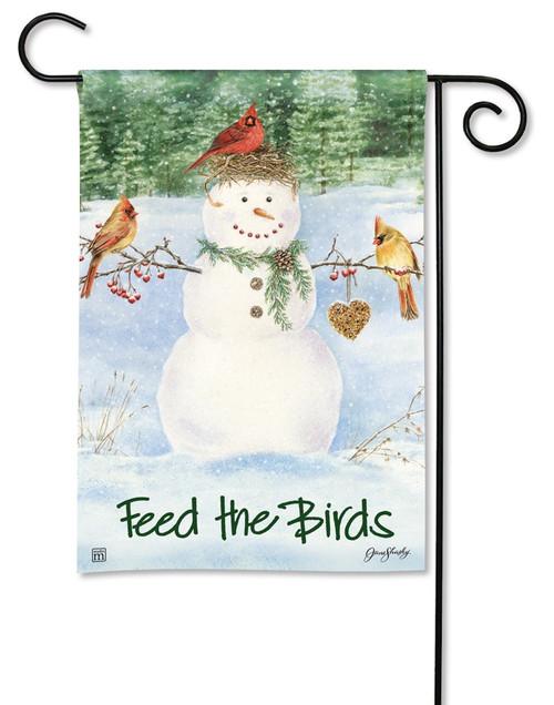 """Snowman Birdfeeder Garden Flag - 12.5"""" x 18"""" - BreezeArt"""