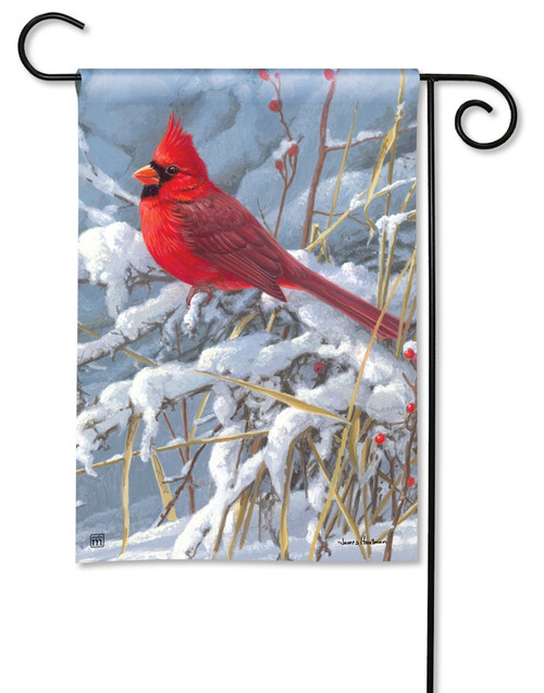 "Cardinal in Snow Garden Flag - 12.5"" x 18"" - BreezeArt"