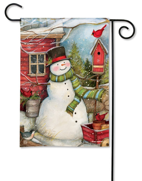 BreezeArt Red Barn Snowman Outdoor Garden Flag