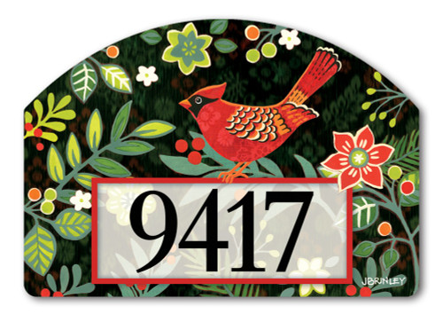 "Folk Cardinal Yard DeSign Address Sign - 14"" x 10"""