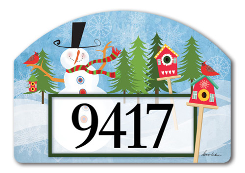 "Snowman Whimsy Yard DeSign Address Sign - 14"" x 10"""