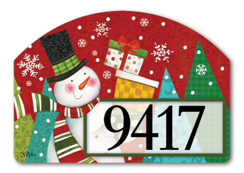 "Happy Snowman Yard DeSign Address Sign - 14"" x 10"""