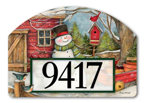 "Red Barn Snowman Yard DeSign Address Sign - 14"" x 10"""