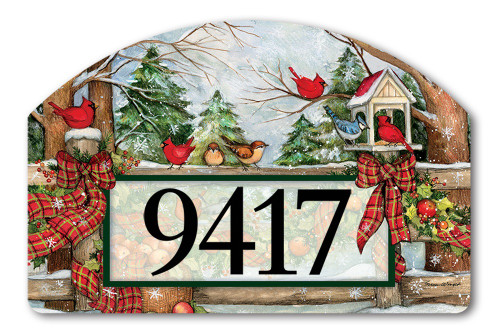 "Winter Gathering Yard DeSign Address Sign - 14"" x 10"""