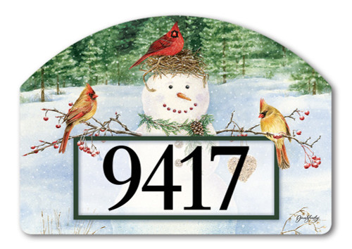 "Snowman Birdfeeder Yard DeSign Address Sign - 14"" x 10"""