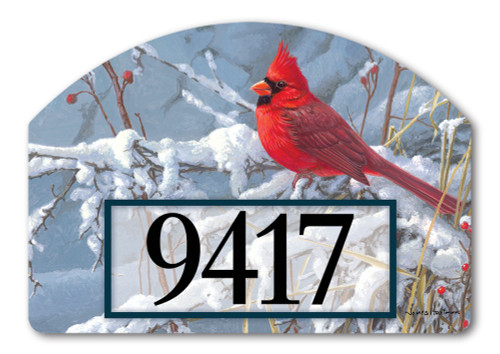 "Cardinal in Snow Yard DeSign Address Sign - 14"" x 10"""