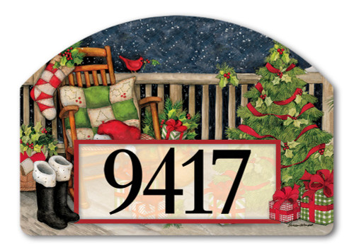 "Santa's Porch Yard DeSign Address Sign - 14"" x 10"""