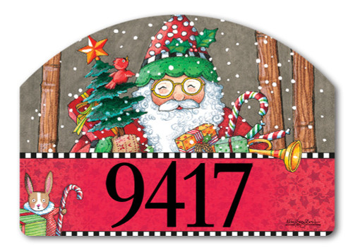 "Jolly Santa Yard DeSign Address Sign - 14"" x 10"""