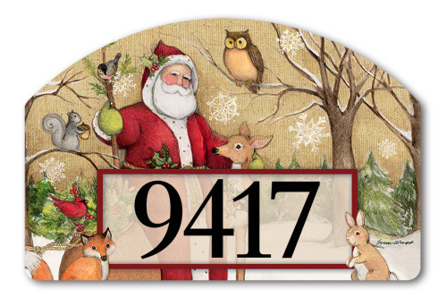 "Woodland Santa Yard DeSign Address Sign - 14"" x 10"""