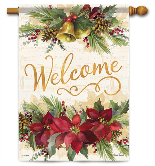 "Poinsettia Elegance House Flag - 28"" x 40"" - 2 Sided Message"
