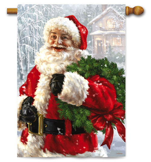 "Santa's Wreath Christmas House Flag - 29"" x 43"""