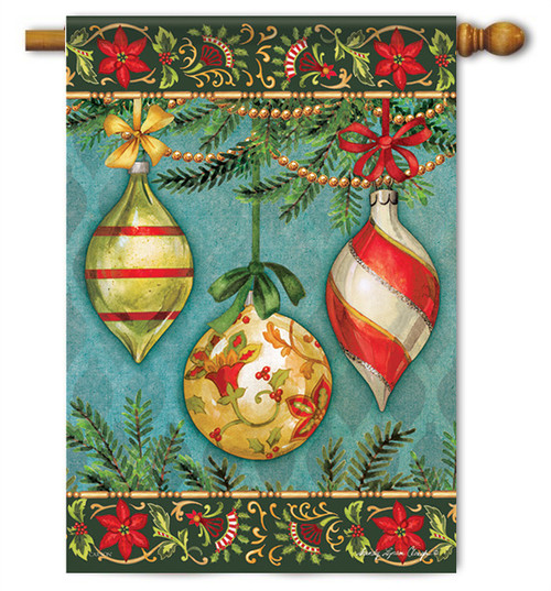 "Glittering Ornaments Christmas House Flag - 28"" x 40"""