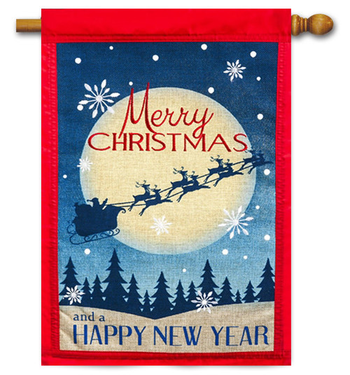 Merry Christmas Happy New Year Burlap House Flag - 2 Sided Message
