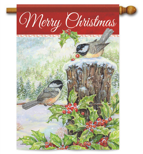 "Christmas Chickadees House Flag - 28"" x 40"" - 2 Sided Message"