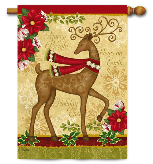 "Peace on Earth Deer and Dove House Flag - 29"" x 43"" - 2 flags in 1"