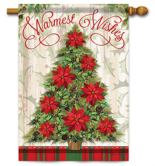 "Warmest Wishes Tree Christmas House Flag - 28"" x 40"" - 2 Sided Message"