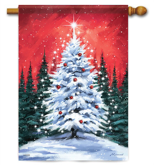 "Snowy Tree House Flag - 28"" x 40"" - Flag Trends"