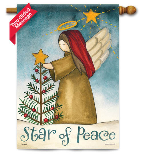 "Star Of Peace Christmas House Flag - 28"" x 40"" - 2 Sided Message"
