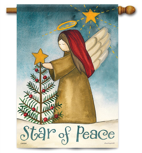 """Star Of Peace Christmas House Flag - 28"""" x 40"""" - 2 Sided Message"""