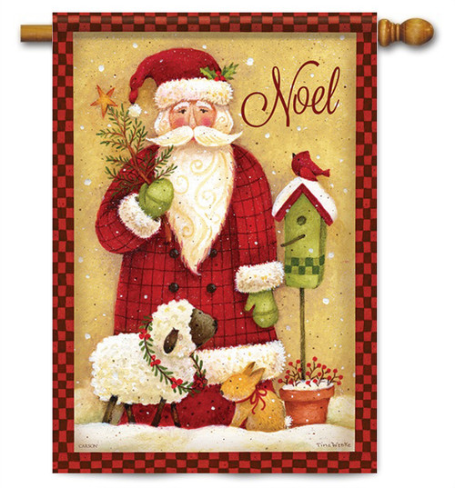 "Noel Santa Christmas House Flag - 28"" x 40"" - 2 Sided Message"