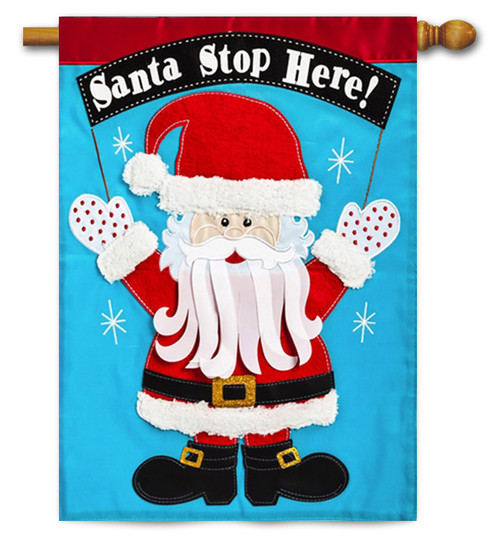 "Santa Stop Here Applique House Flag - 28"" x 44"" - 2 Sided Message"